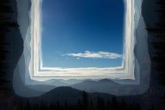 Anfangeffekt handhabung Bewölkter Himmel, Berge und Bäume lizenzfreie abbildung