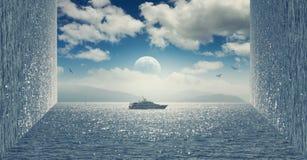 Anfangeffekt handhabung Bewölkter Himmel und ein Bootssegeln auf dem Meer vektor abbildung
