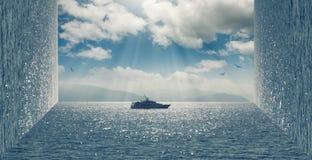 Anfangeffekt handhabung Bewölkter Himmel und ein Bootssegeln auf dem Meer stock abbildung