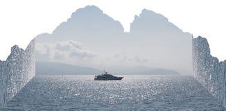 Anfangeffekt handhabung Boot auf dem Meer Berge lizenzfreie abbildung