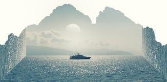 Anfangeffekt handhabung Boot auf dem Meer Berge vektor abbildung