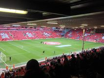 Anfield prima del calcio iniziale Fotografie Stock