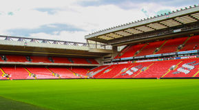 Anfield stadium, Liverpool, United Kingdom. Anfield stadium, picture taken from Kop Stand, Liverpool, United Kingdom Stock Images