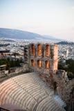 Anfiteatro in acropoli, Atene Grecia Fotografia Stock Libera da Diritti