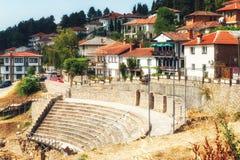 Anfiteatro antigo antigo em Ohrid imagens de stock