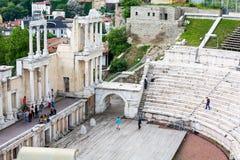 Anfiteatro antigo em Plovdiv, Bulgária imagens de stock