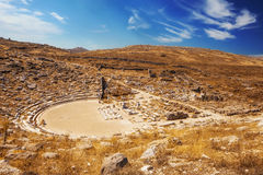 Anfiteatro antigo na ilha de Delos Fotografia de Stock Royalty Free