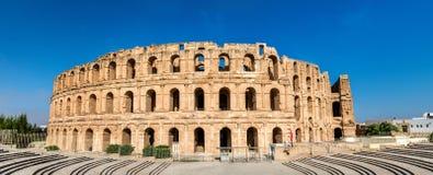 Anfiteatro del EL Jem, un sito del patrimonio mondiale dell'Unesco in Tunisia fotografia stock