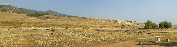 Anfiteatro di Hierapolis Roman Antique Theater, Pamukkale, Turchia fotografia stock