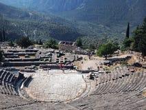Anfiteatro do grego clássico, Delphi, Grécia fotografia de stock