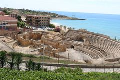 Anfiteatro em Tarragona durante jogos mediterrâneos em junho de 2018 fotografia de stock