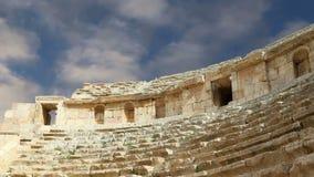 Anfiteatro en Jerash Gerasa de la ciudad de la antigüedad, capital y más grande del Governorate de Jerash, Jordania almacen de metraje de vídeo