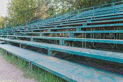 Anfiteatro exterior do futebol no campo de futebol Foto de Stock Royalty Free