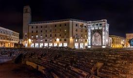 Anfiteatro in Lecce alla notte immagine stock libera da diritti