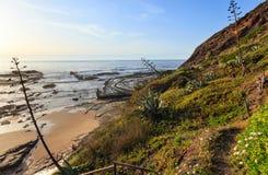 Anfiteatro naturale sulla spiaggia Algarve, Portogallo Fotografie Stock Libere da Diritti
