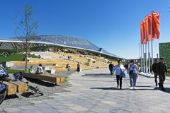 Anfiteatro nel parco di Zaryadie Immagine Stock Libera da Diritti