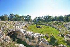 Anfiteatro romano de Siracusa Fotografia de Stock Royalty Free