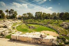 Anfiteatro romano de Siracusa imagens de stock