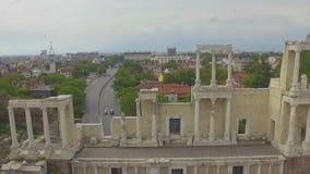 Anfiteatro romano en Plovdiv almacen de metraje de vídeo
