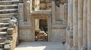 Anfiteatro romano nelle rovine di Hierapolis, in Pamukkale La Turchia Fotografia Stock Libera da Diritti