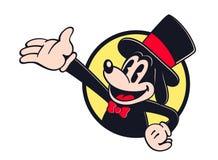 Anfitrião do personagem de banda desenhada do vintage que mostra algo ilustração royalty free