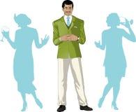 Anfitrião masculino asiático do partido com convidados fêmeas ilustração royalty free