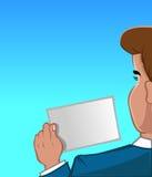 Anfitrião que guarda um cartão de sugestão ilustração royalty free