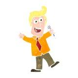 anfitrião retro do concurso televisivo dos desenhos animados Fotografia de Stock