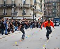Anfitriões da rua em Paris Fotografia de Stock