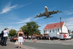 Anflug A380 Lizenzfreies Stockbild