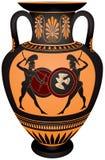 Anfora con i warrior's di Grecia antica Fotografie Stock