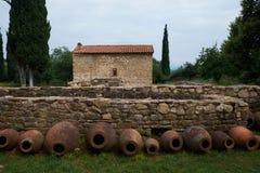 Anfora tradizionale del vino, Georgia Immagine Stock
