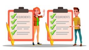 Anforderungen, Checkliste, Zeitplan, Befolgungs-Vektor-Zeichnungs-Satz stock abbildung