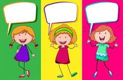 Anförandebubbladesign med tre flickor Royaltyfria Bilder