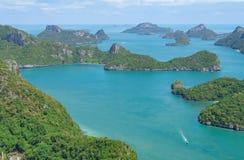 ang群岛包括四十个主要海岛酸值海军陆战队员国家公园加上samui无人居住一些泰国的皮带 免版税库存照片