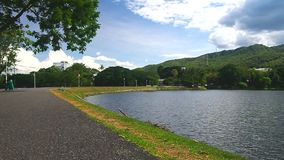 Ang Kaew reservoir under the blue sky stock footage