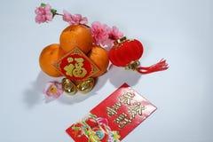 Ang Pao, tanjerinas chinesas das decorações do ano novo, lanterna vermelha, lingotes e 'Fook ' foto de stock royalty free