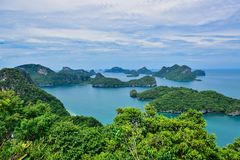 Beautiful seascape of Ang Thong Island National Marine Park near Samui island, Thailand, one of the most famous tourist vacation d. Ang Thong Island National stock photos