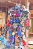 ANG THONG, THAILAND - APRIL 3 :  The Optimus Prime robot made of. Remnant of iron on April 3, 2016 in Ang Thong, Thailand. Optimus Prime is a character from the Royalty Free Stock Photos