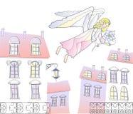 Ange на городе иллюстрация штока