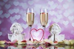 Ange, amour, concept de Saint-Valentin, fond de coeur Photo libre de droits