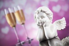 Ange, amour, concept de Saint-Valentin, fond de coeur Images stock