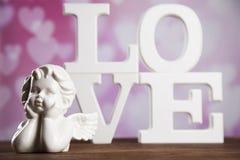 Ange, amour, concept de Saint-Valentin, fond de coeur Photographie stock