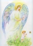 Ange avec des ailes volant au-dessus de l'enfant illustration stock