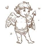 Ange avec le croquis de cupidon de jour de valentines de flèche et d'ailes illustration stock