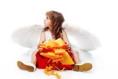 Ange avec un présent Photo stock