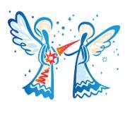 Ange avec une trompette et ange avec une étoile illustration libre de droits