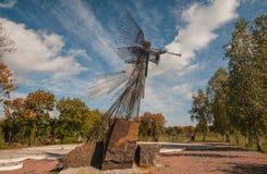 Ange commémoratif de fer de sculpture en Chernobyl images stock