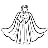 Ange dans un manteau et avec une épée dans des ses mains illustration de vecteur
