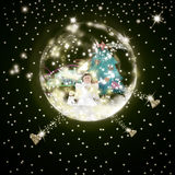 Ange de carte de voeux de temps de Noël Image stock